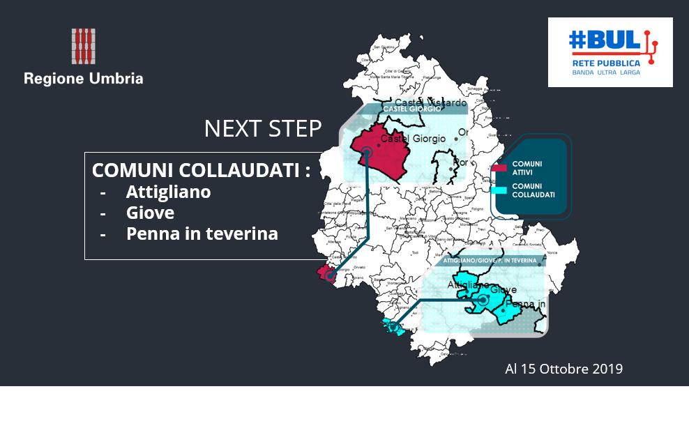 Comuni dove la Bul è attiva e collaudata al 15 ottobre 2019. Fonte Regione Umbria