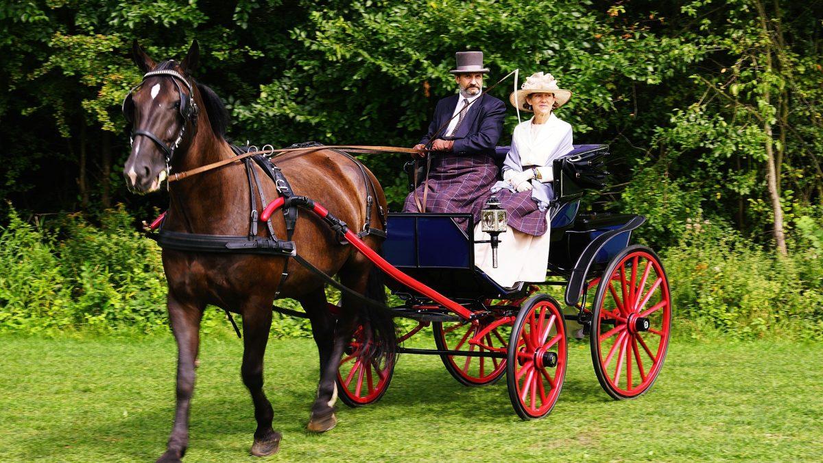 Un uomo e una donna su una carrozza trainata da un cavallo