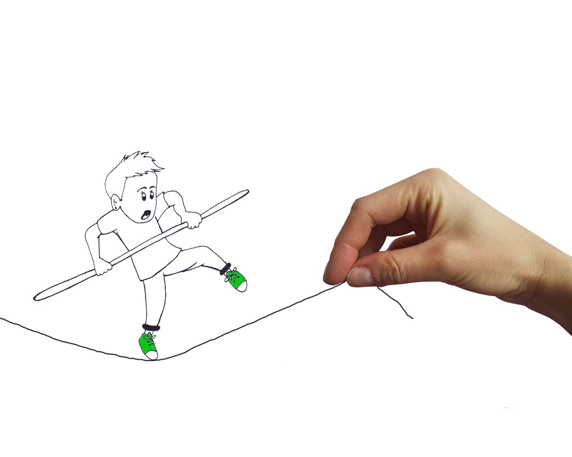 Un equilibrista disegnato