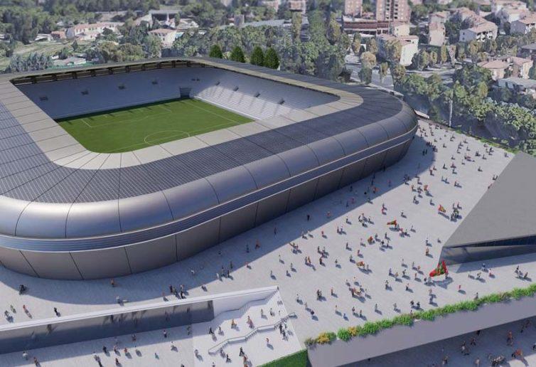 Il render del progetto del nuovo stadio a Terni