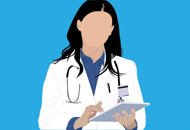 Illustrazione grafica di una dottoressa