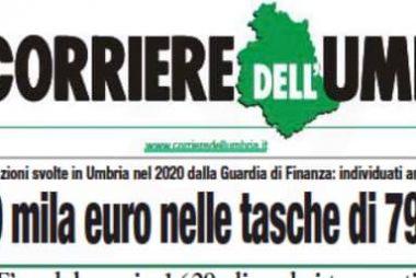 Tiyolo di prima pagina del corriere dell'Umbria del 23 giugno 2021